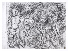 From Rubens:  Minerva Protects Pax from Mars by Leon Kossoff at Annandale Galleries