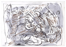 From Rubens:  The Brazen Serpent by Leon Kossoff at Annandale Galleries