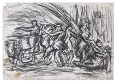 From Poussin:  A Bacchanalian Revel before a Herm by Leon Kossoff at Frances Keevil Gallery