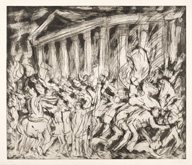 From Poussin:  The Destruction and Sack of the Temple of Jerusalem by Leon Kossoff at Annandale Galleries