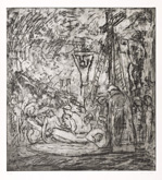 From Rembrandt:  The Lamentation over the Dead Christ No. 1 by Leon Kossoff at Annandale Galleries