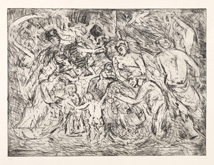 From Rubens:  Minerva protects Pax from Mars (Peace and War) by Leon Kossoff at Annandale Galleries