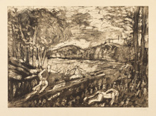 From Poussin:  Landscape with a Man Killed by a Snake by Leon Kossoff at Annandale Galleries