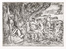 From Poussin:  A Bacchanalian Revel before a Herm - For Euan by Leon Kossoff at Annandale Galleries