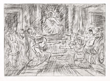 From Poussin:  Judgment of Solomon by Leon Kossoff at Annandale Galleries