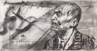 Drawing for the film Other Faces by William Kentridge at Annandale Galleries
